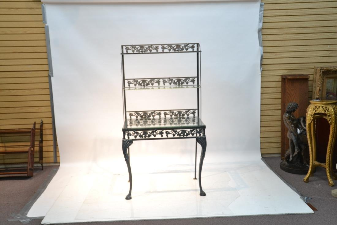 IRON ETAGERE RACK WITH GLASS TOP - 2