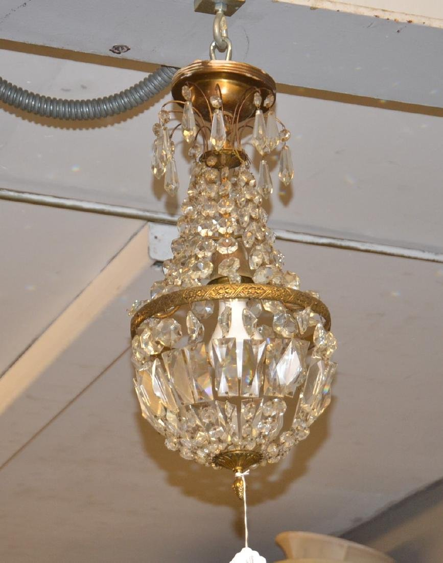 SMALL BRONZE & CASCADING CRYSTAL CHANDELIER