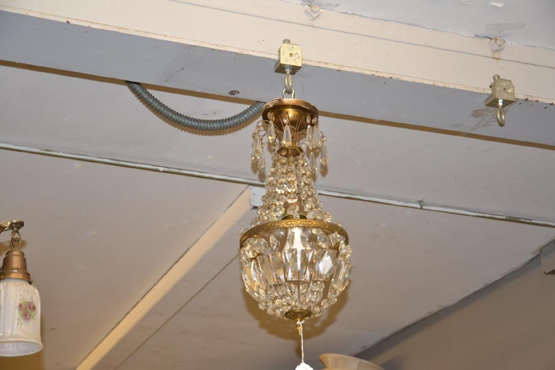 SMALL BRONZE & CASCADING CRYSTAL CHANDELIER - 2