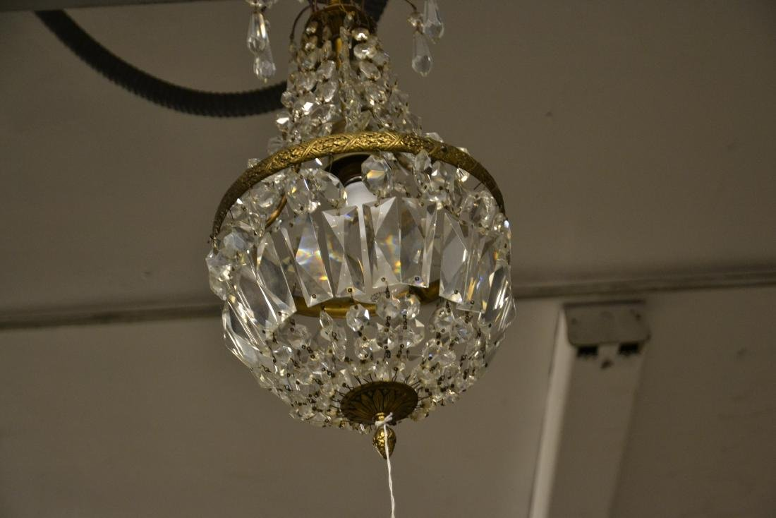 SMALL BRONZE & CASCADING CRYSTAL CHANDELIER - 3