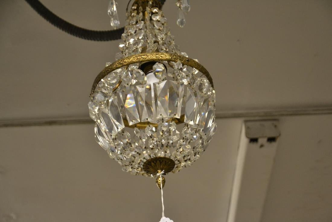 SMALL BRONZE & CASCADING CRYSTAL CHANDELIER - 4