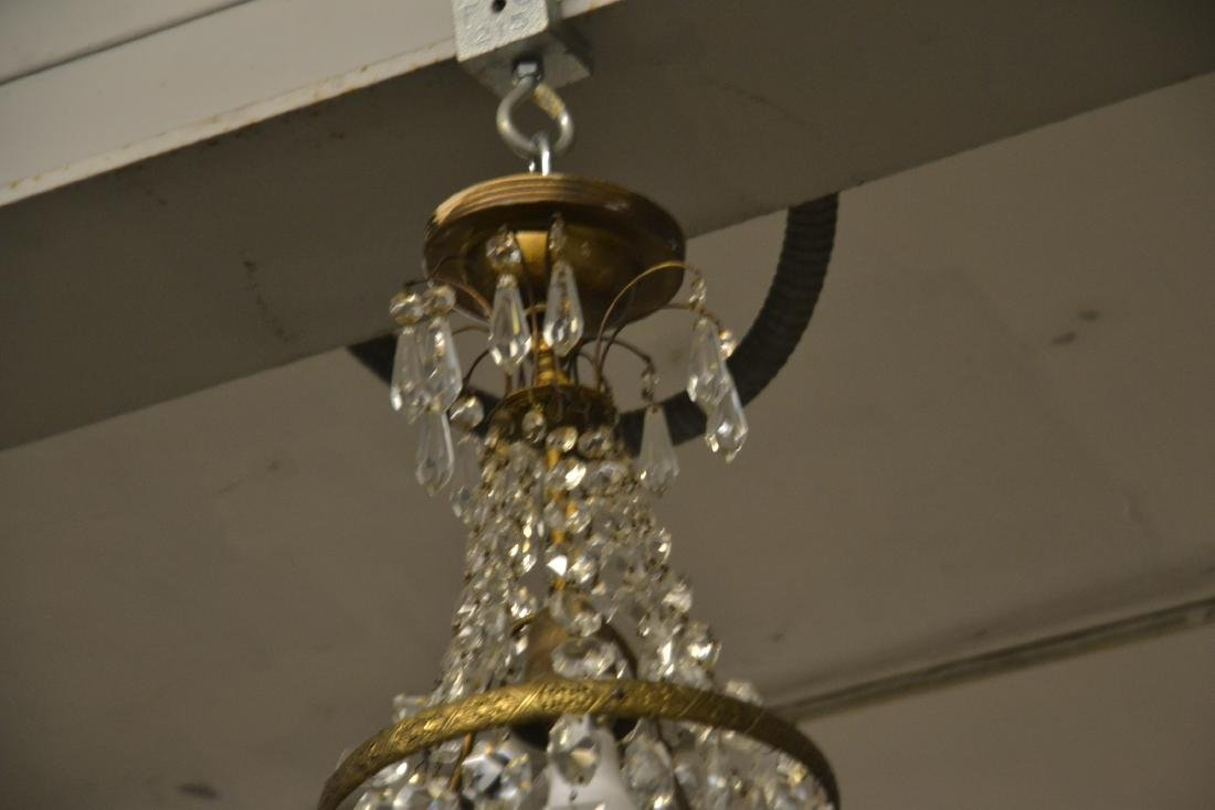 SMALL BRONZE & CASCADING CRYSTAL CHANDELIER - 5