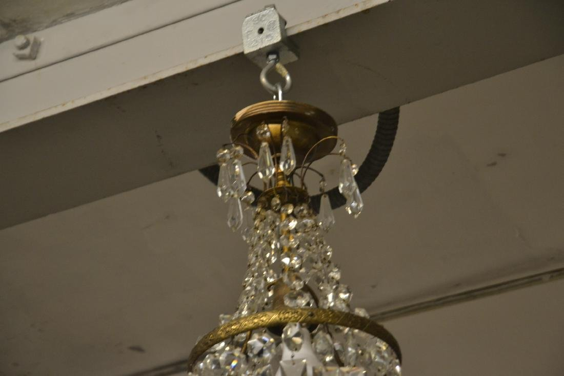 SMALL BRONZE & CASCADING CRYSTAL CHANDELIER - 6