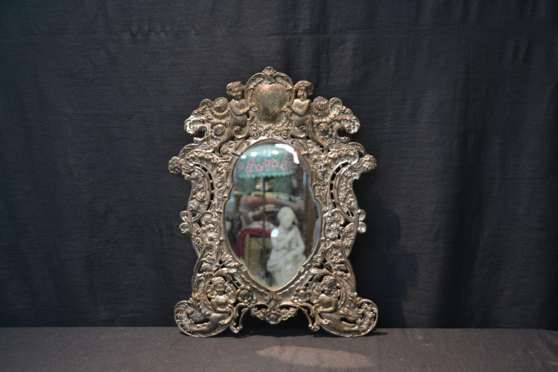 EMBOSSED SILVER PLATE EASEL MIRROR WITH CHERUBS - 2