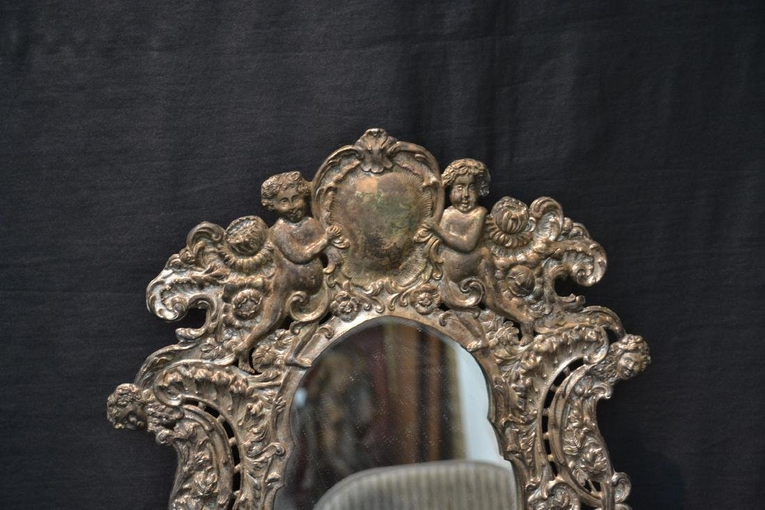 EMBOSSED SILVER PLATE EASEL MIRROR WITH CHERUBS - 3