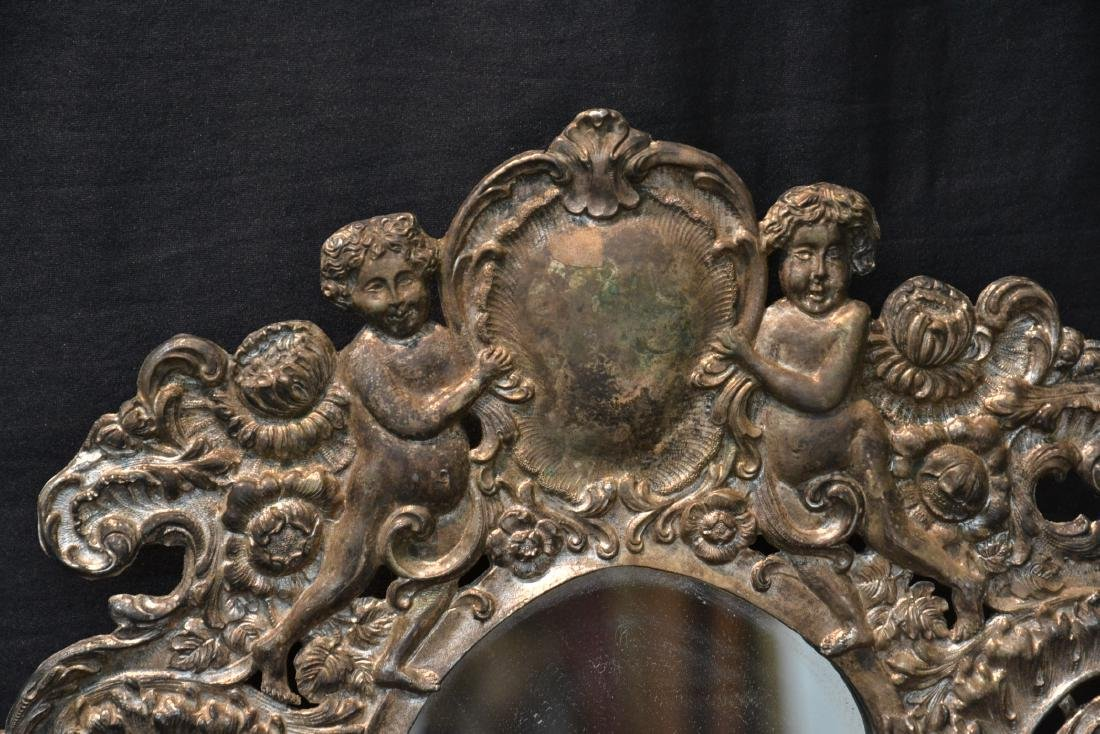 EMBOSSED SILVER PLATE EASEL MIRROR WITH CHERUBS - 4