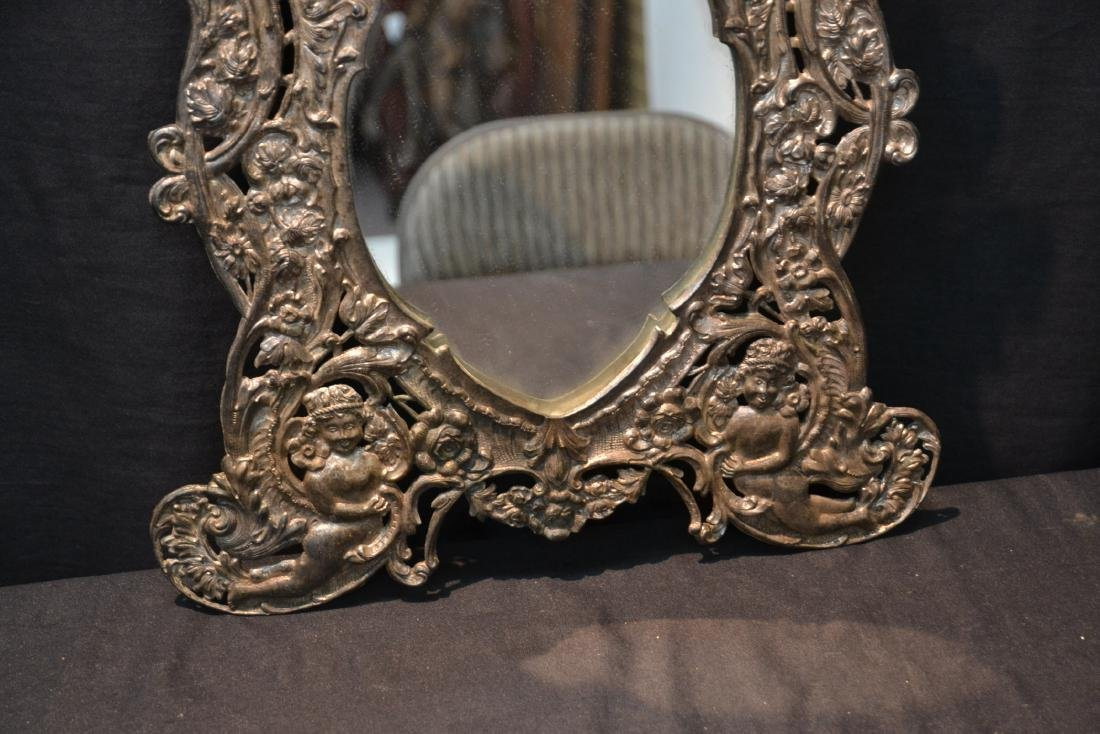 EMBOSSED SILVER PLATE EASEL MIRROR WITH CHERUBS - 5