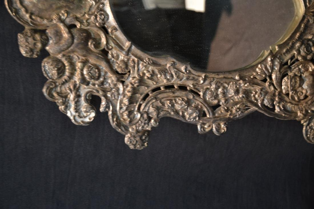 EMBOSSED SILVER PLATE EASEL MIRROR WITH CHERUBS - 7