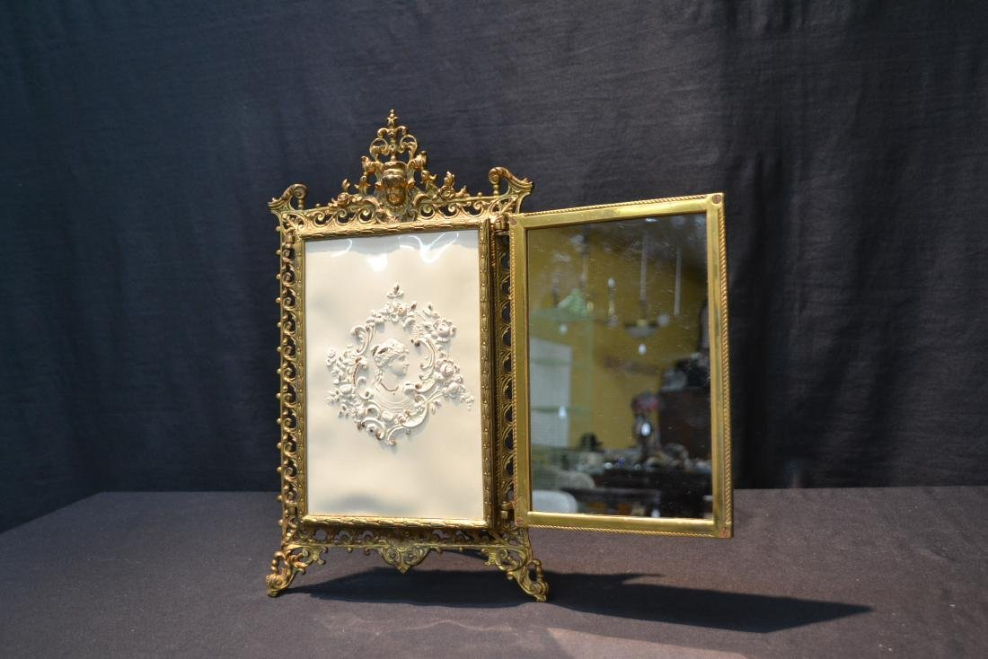 BRONZE TRYPTICH EASEL MIRROR - 5