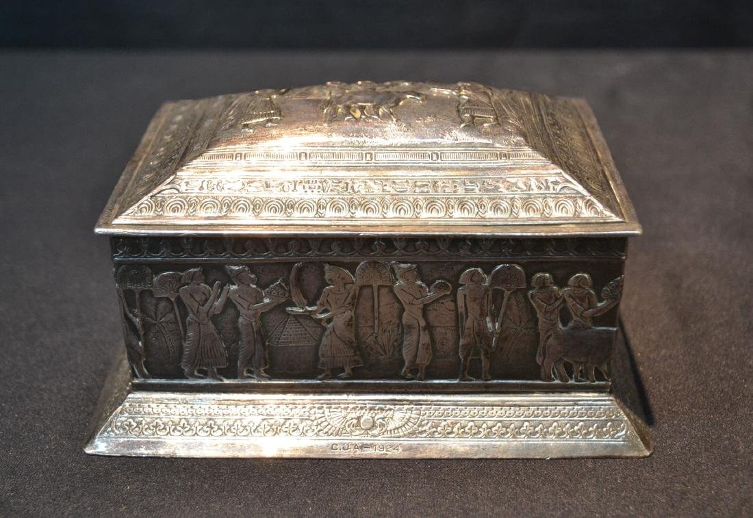 SILVER PLATE EGYPTIAN REVIVAL BOX WITH