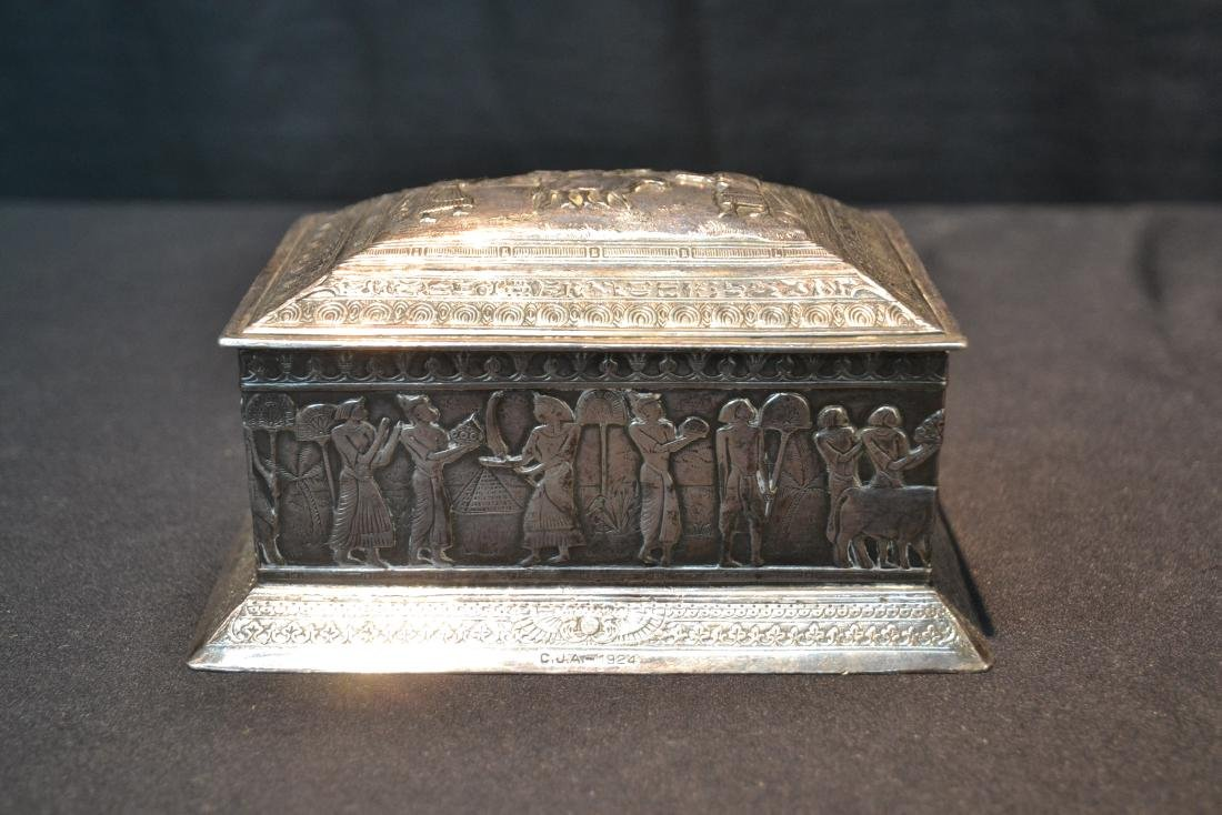 SILVER PLATE EGYPTIAN REVIVAL BOX WITH - 2