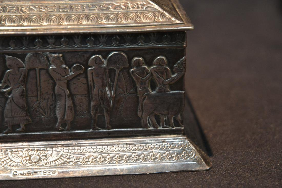 SILVER PLATE EGYPTIAN REVIVAL BOX WITH - 3