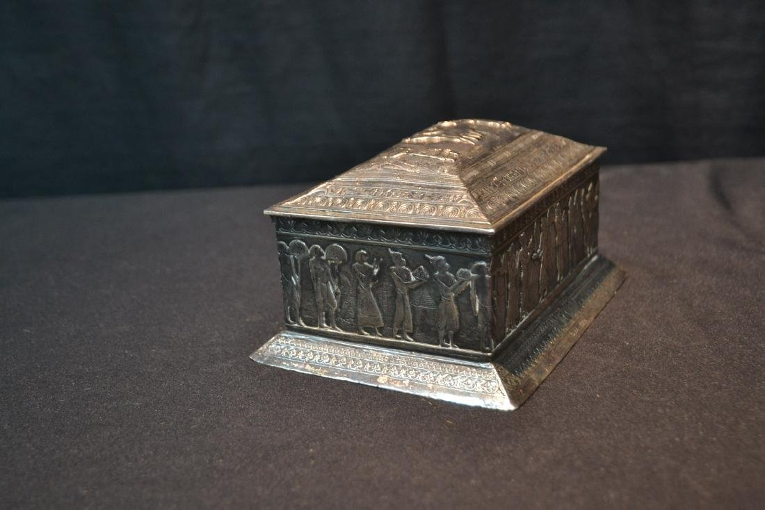 SILVER PLATE EGYPTIAN REVIVAL BOX WITH - 4