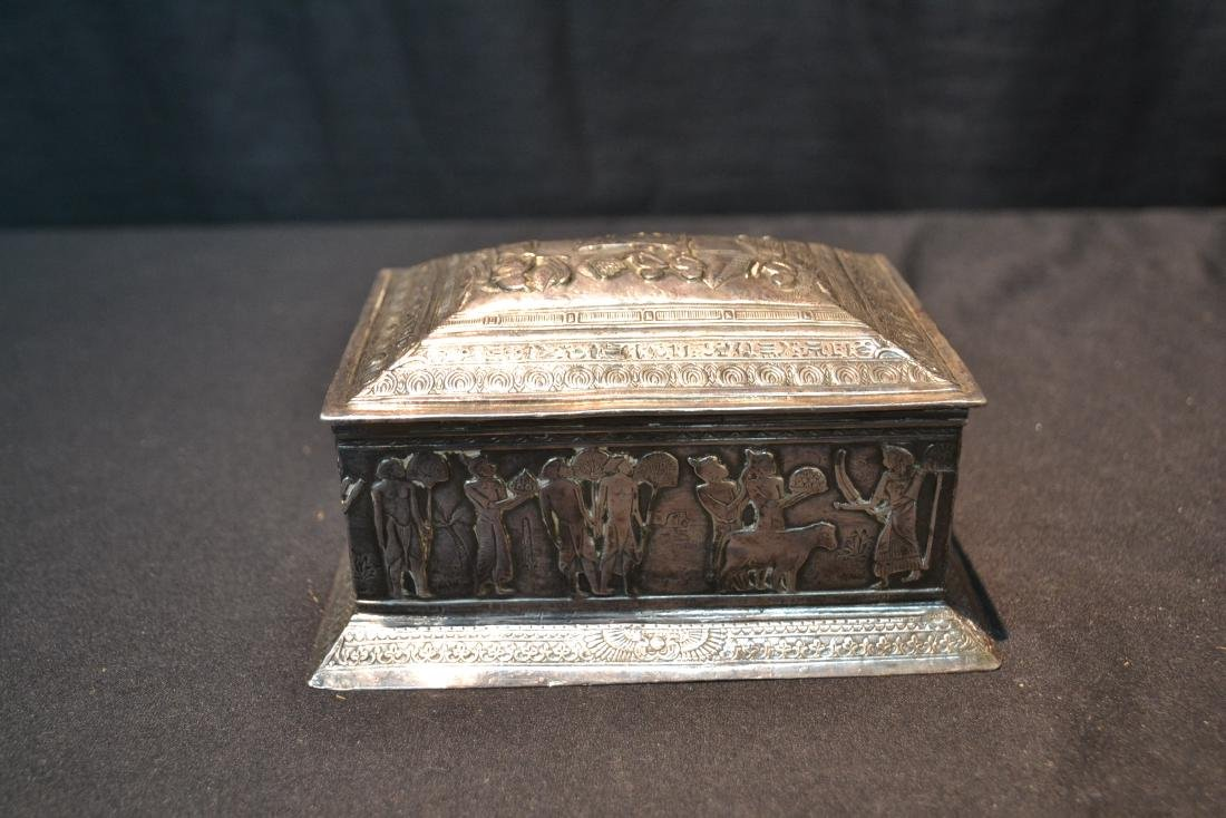 SILVER PLATE EGYPTIAN REVIVAL BOX WITH - 5