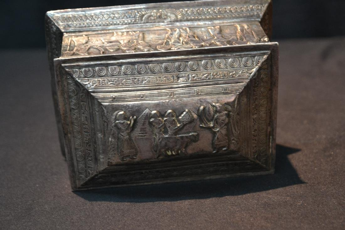 SILVER PLATE EGYPTIAN REVIVAL BOX WITH - 6
