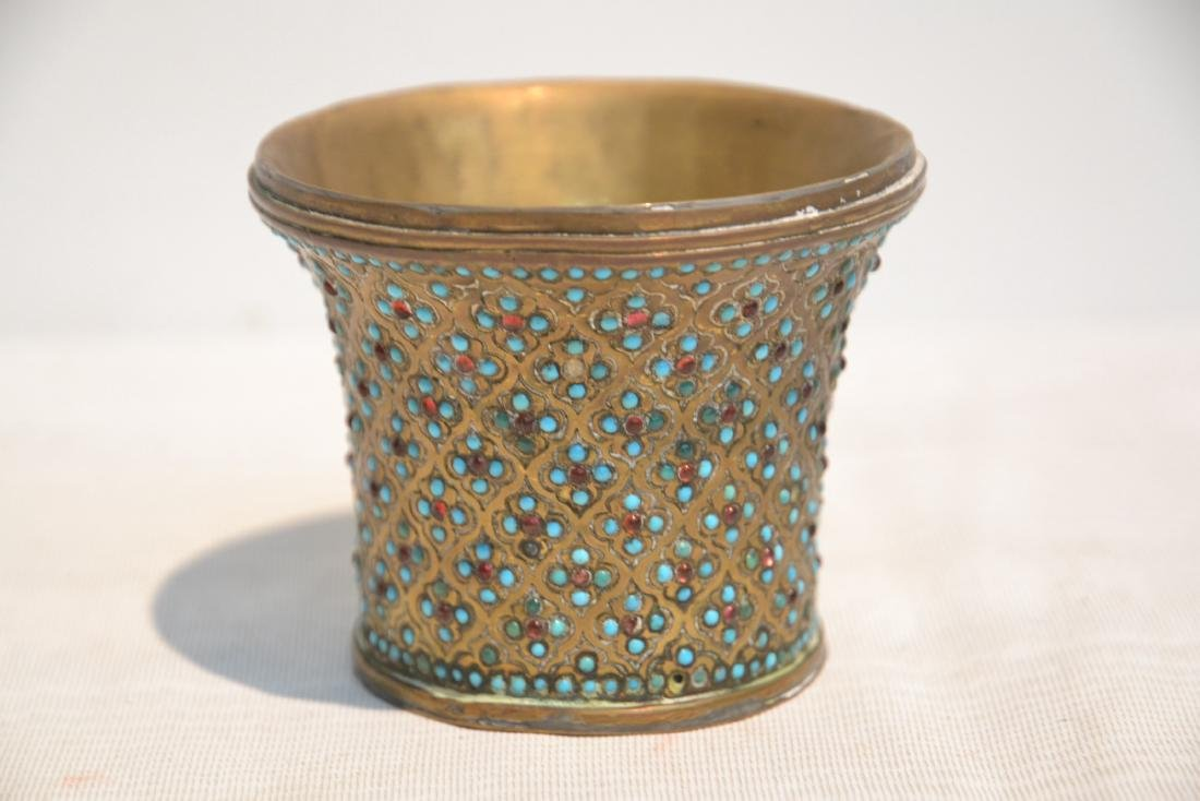 PERSIAN VASE WITH TURQUOISE JEWELS - 2