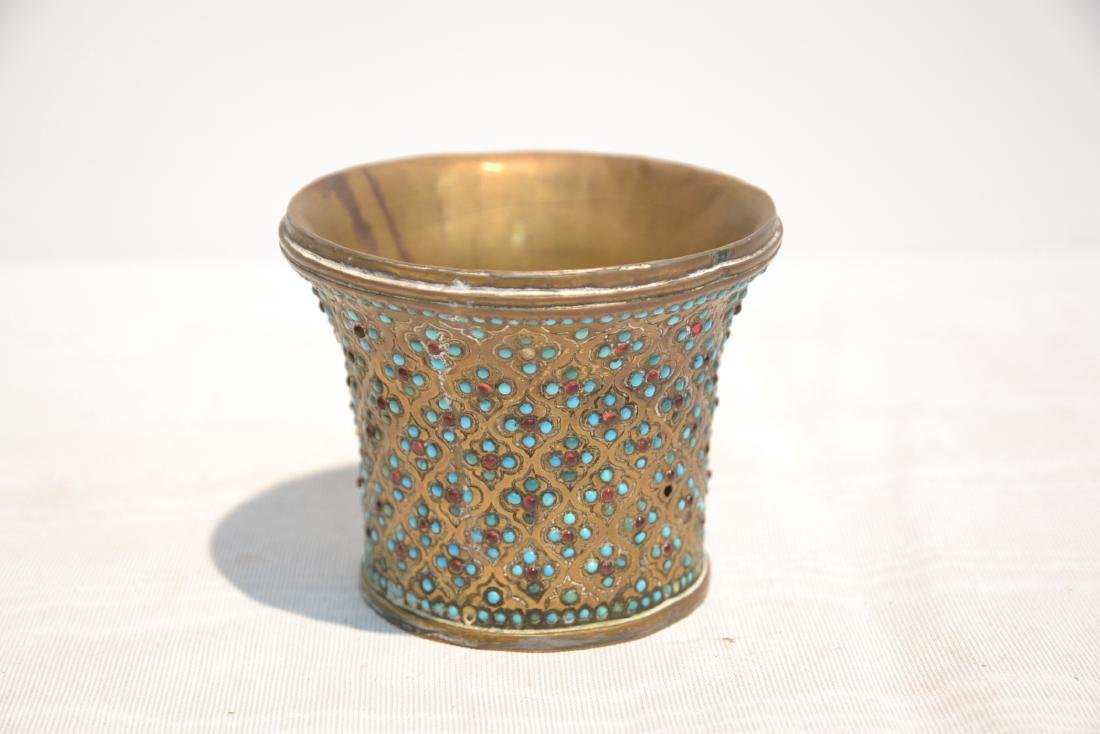 PERSIAN VASE WITH TURQUOISE JEWELS - 3
