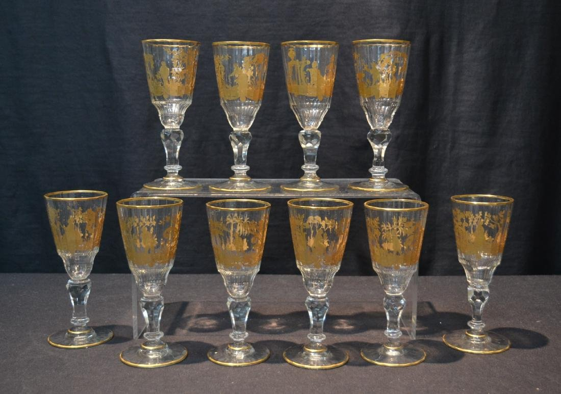(10) CUT GLASS BACCARAT ? GLASSES WITH