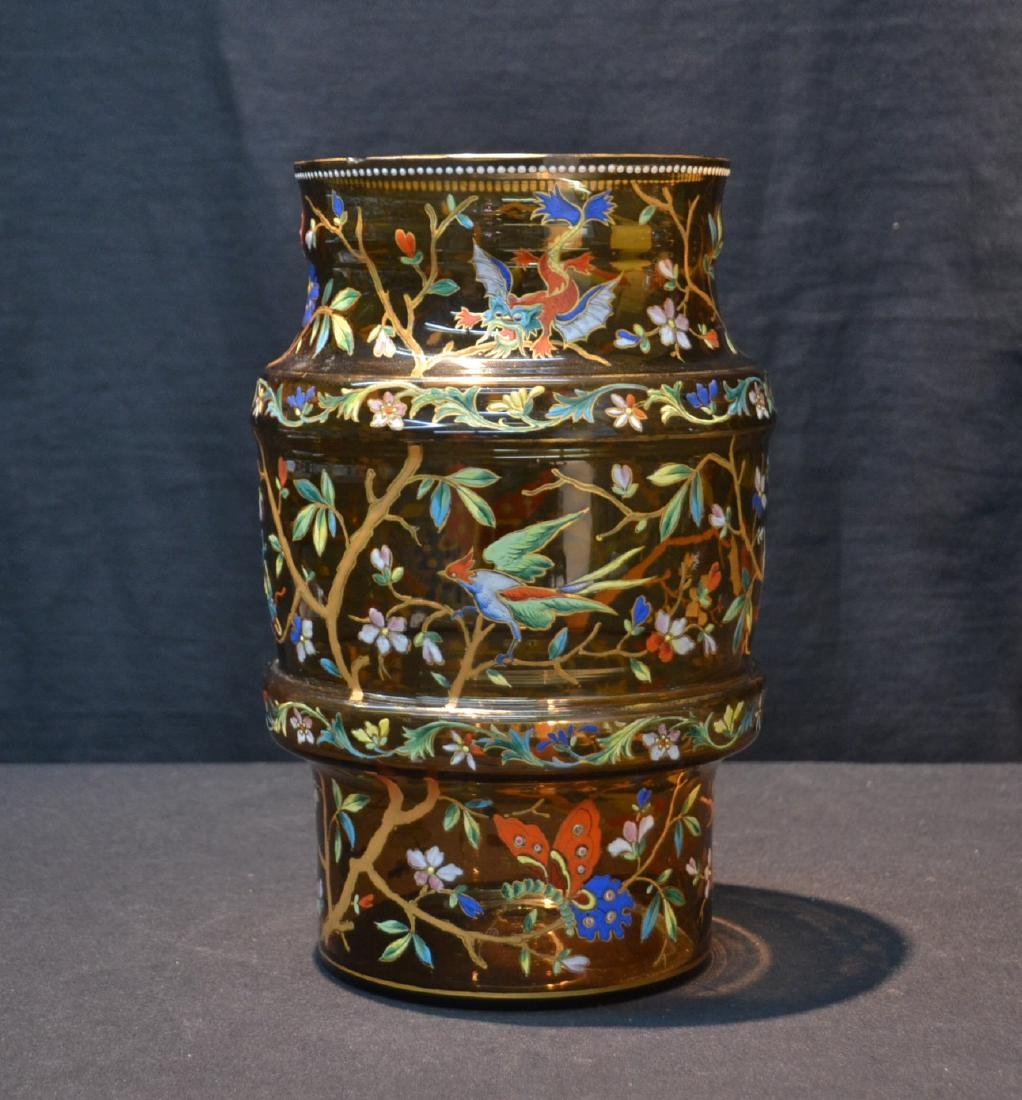 VICTORIAN ENAMEL GLASS VASE WITH DRAGONS , BIRDS