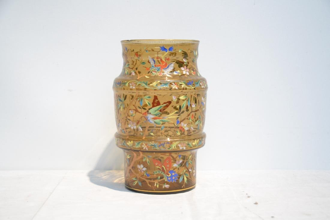 VICTORIAN ENAMEL GLASS VASE WITH DRAGONS , BIRDS - 3