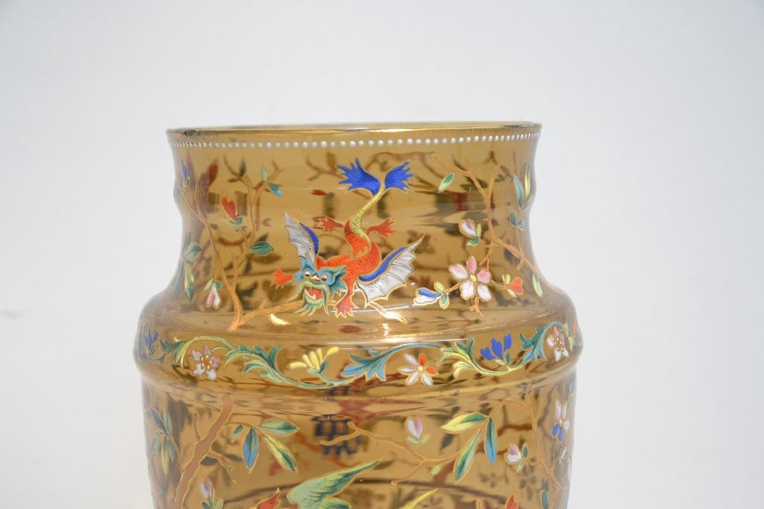 VICTORIAN ENAMEL GLASS VASE WITH DRAGONS , BIRDS - 4