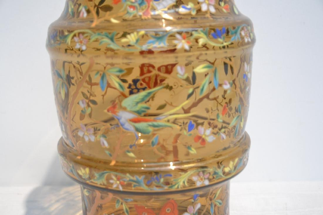 VICTORIAN ENAMEL GLASS VASE WITH DRAGONS , BIRDS - 5