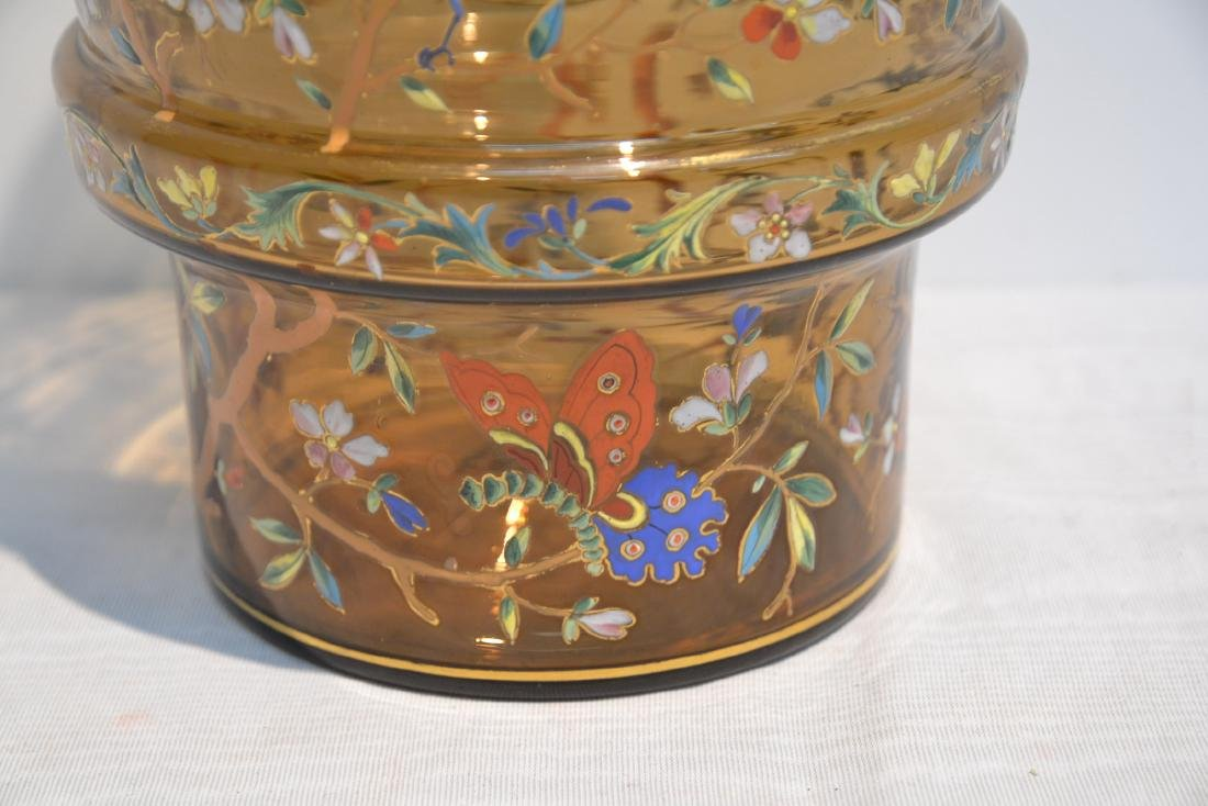 VICTORIAN ENAMEL GLASS VASE WITH DRAGONS , BIRDS - 6