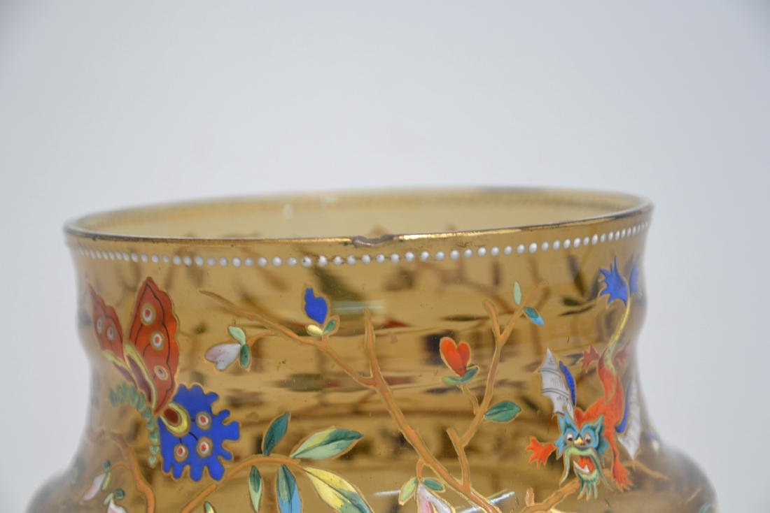VICTORIAN ENAMEL GLASS VASE WITH DRAGONS , BIRDS - 7
