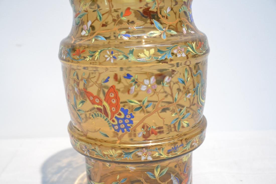 VICTORIAN ENAMEL GLASS VASE WITH DRAGONS , BIRDS - 9
