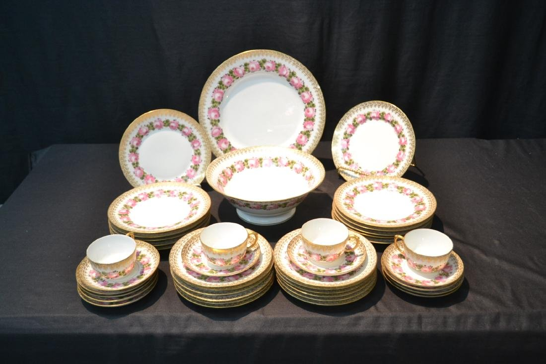 (41)pc D & C LIMOGES CHINA SERVICE WITH FLOWERS - 2