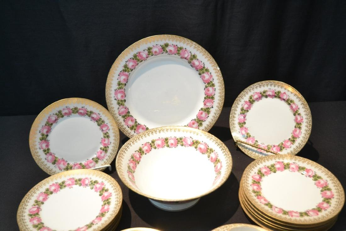 (41)pc D & C LIMOGES CHINA SERVICE WITH FLOWERS - 3
