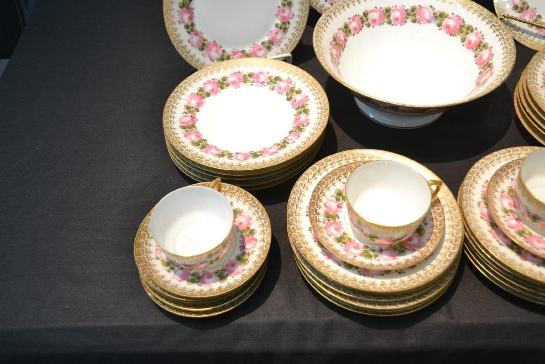 (41)pc D & C LIMOGES CHINA SERVICE WITH FLOWERS - 5