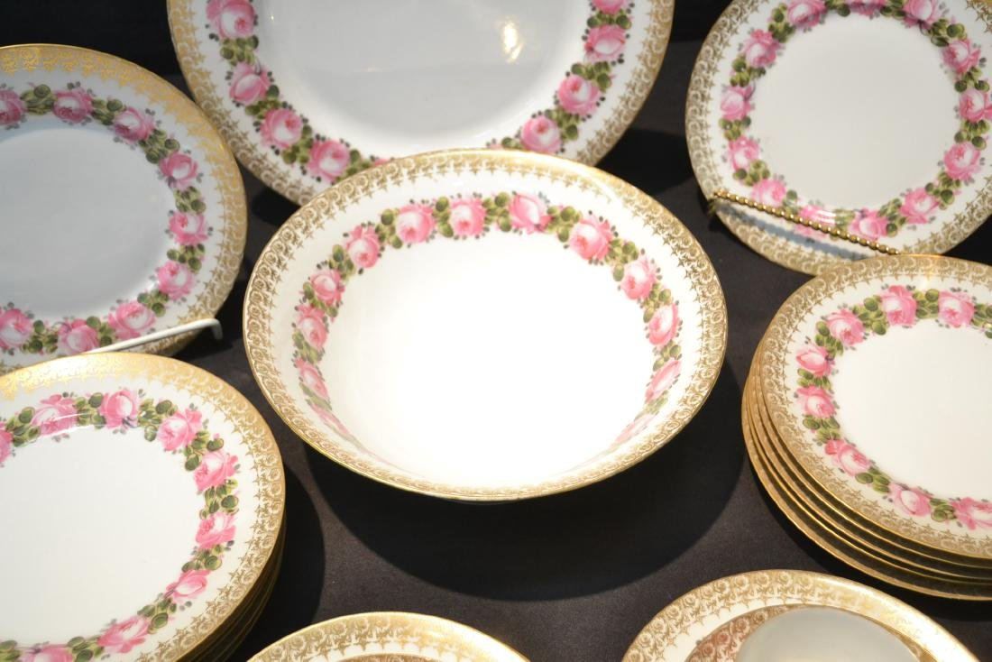 (41)pc D & C LIMOGES CHINA SERVICE WITH FLOWERS - 7