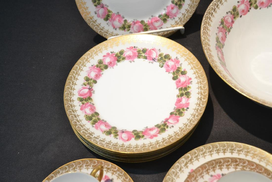 (41)pc D & C LIMOGES CHINA SERVICE WITH FLOWERS - 8
