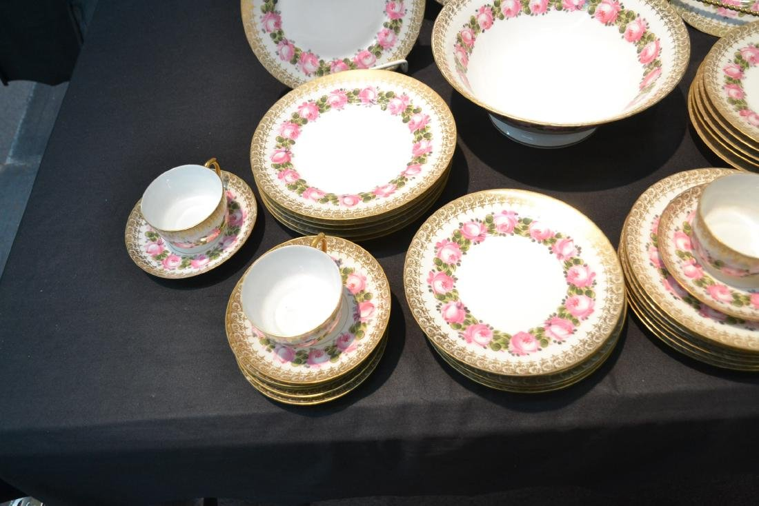 (41)pc D & C LIMOGES CHINA SERVICE WITH FLOWERS - 9
