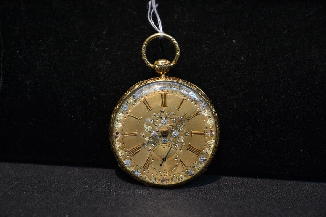 EUROPEAN 18kt GOLD POCKET WATCH WITH - 2