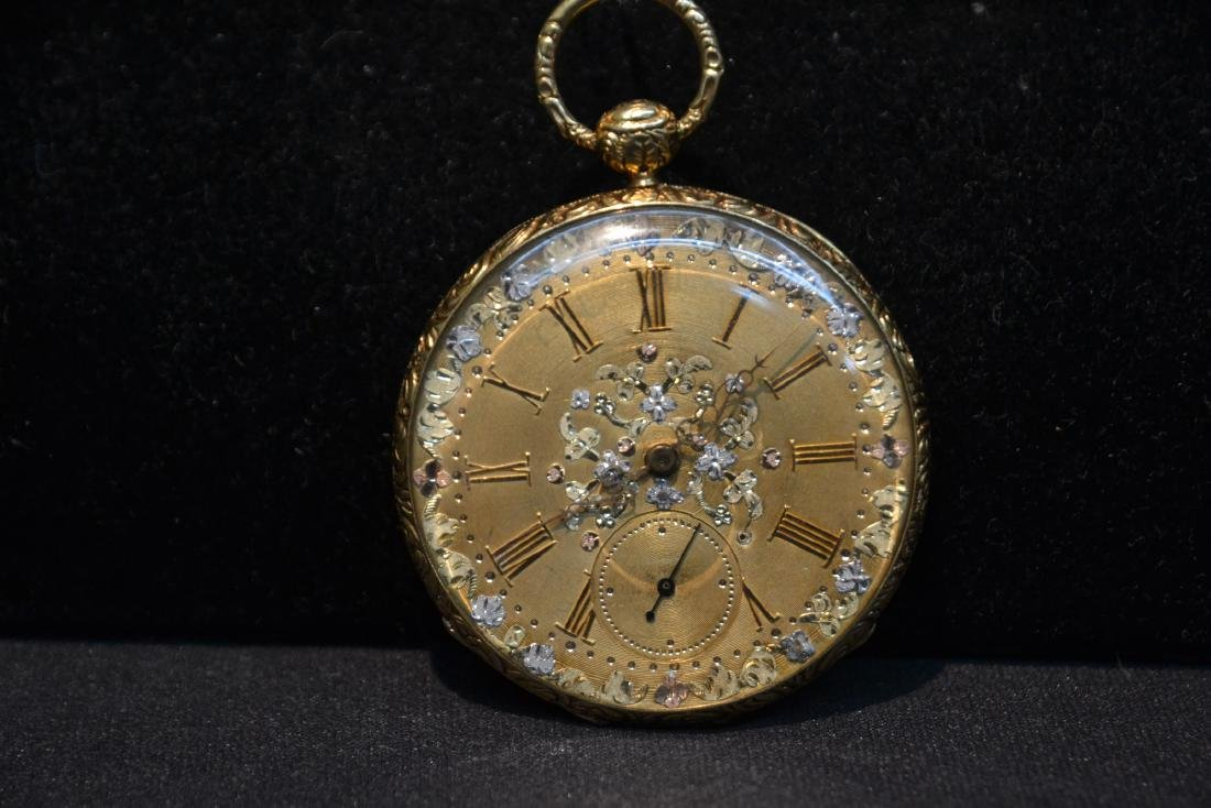 EUROPEAN 18kt GOLD POCKET WATCH WITH - 3