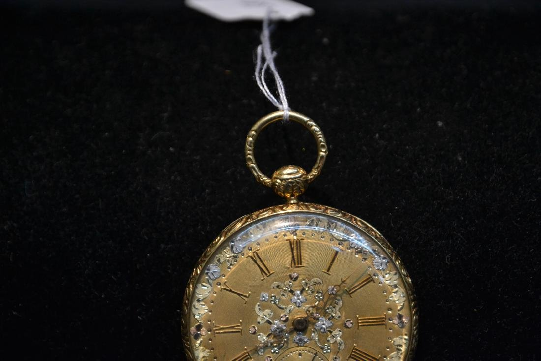 EUROPEAN 18kt GOLD POCKET WATCH WITH - 4