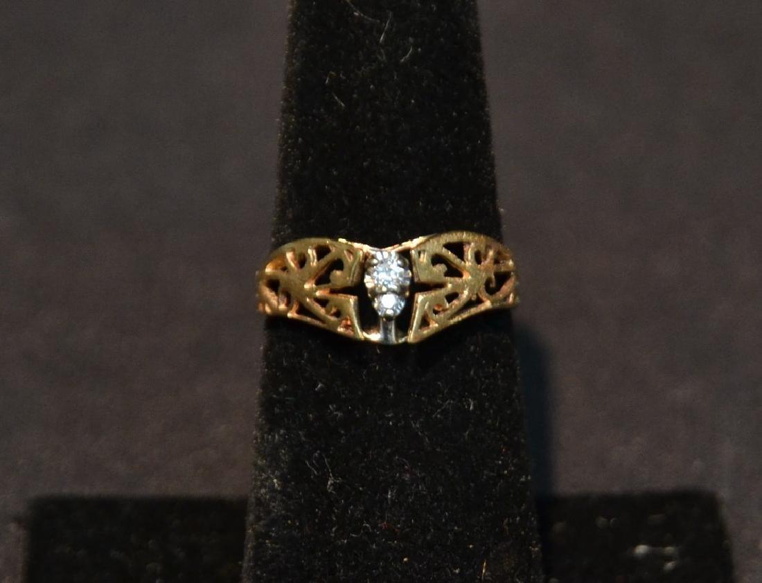 14kt (2) DIAMOND FILIGREE RING - SIZE 7