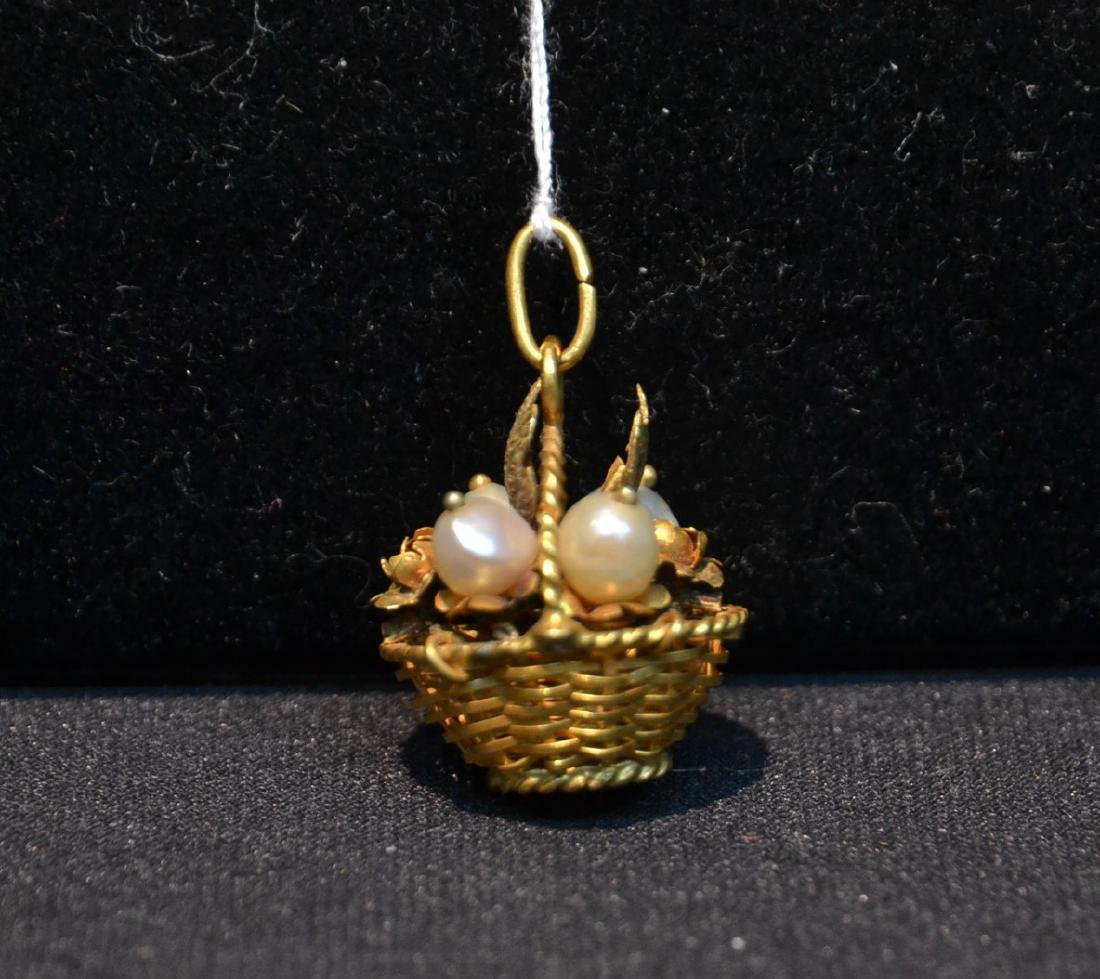 14kt BASKET CHARM WITH PEARLS - 3.5grams