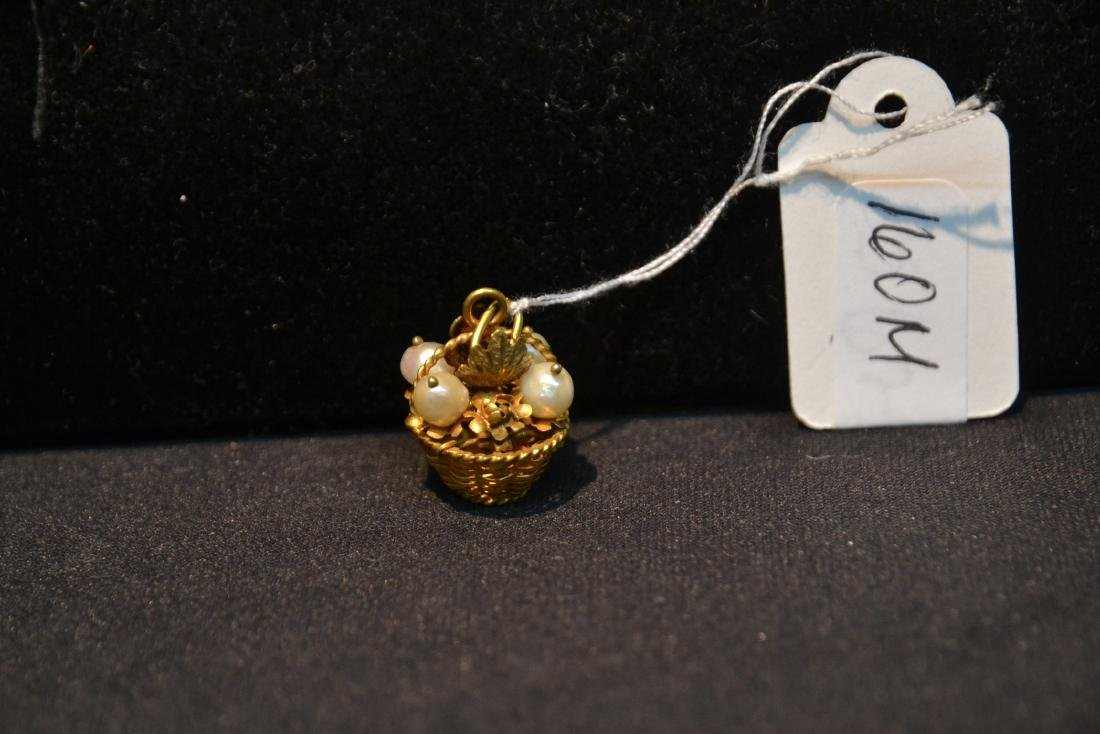 14kt BASKET CHARM WITH PEARLS - 3.5grams - 4