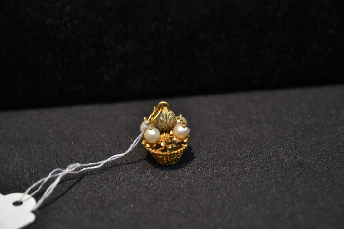 14kt BASKET CHARM WITH PEARLS - 3.5grams - 5