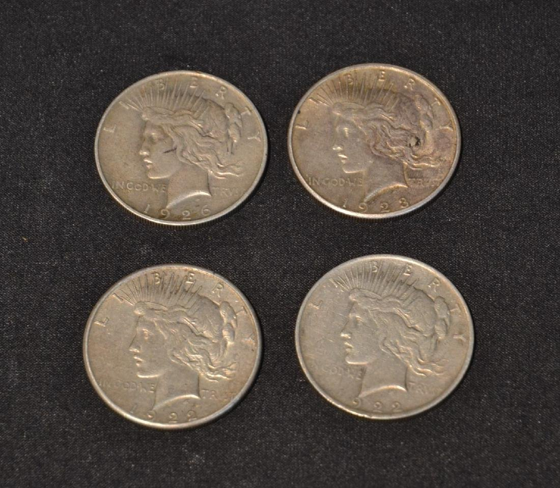 (4) LIBERTY SILVER DOLLARS ; FROM 1922 - 1926