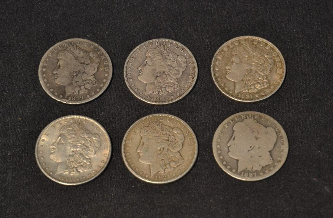 (6) MORGAN SILVER DOLLARS FROM 1879-1921