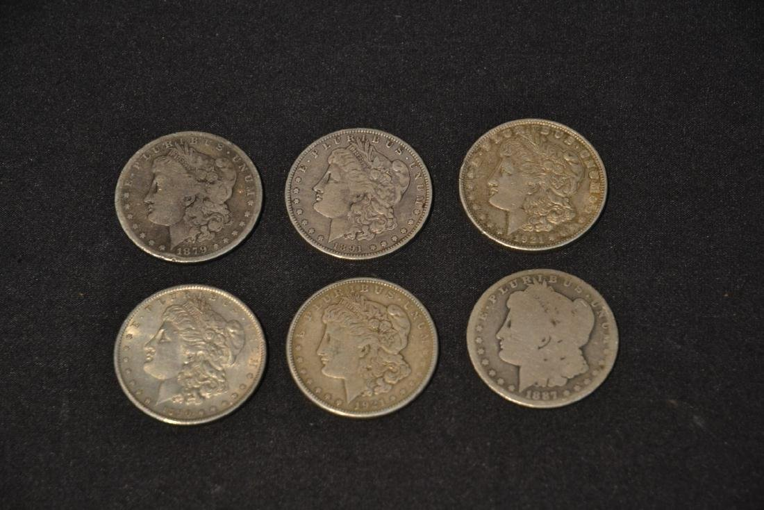 (6) MORGAN SILVER DOLLARS FROM 1879-1921 - 4