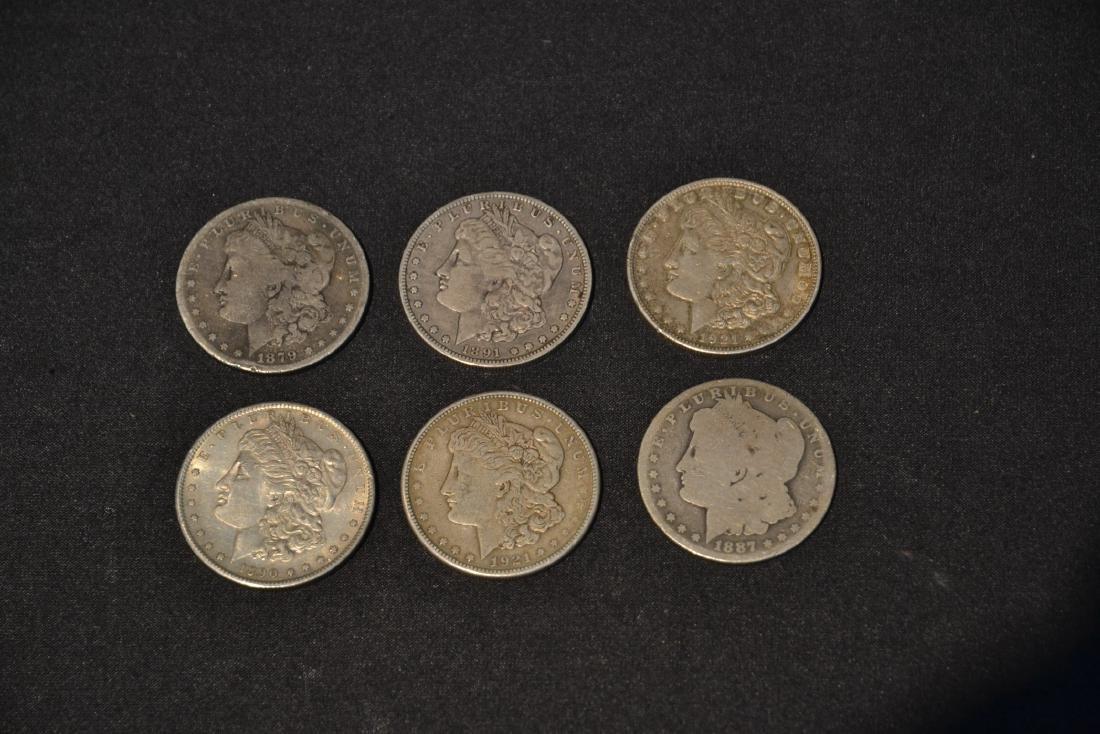 (6) MORGAN SILVER DOLLARS FROM 1879-1921 - 5