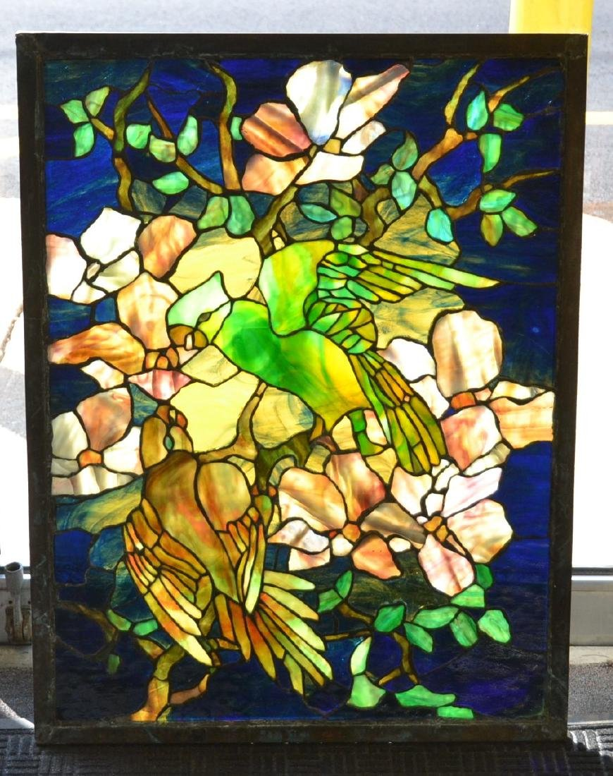 MULTI COLOR STAINED LEADED GLASS WINDOW