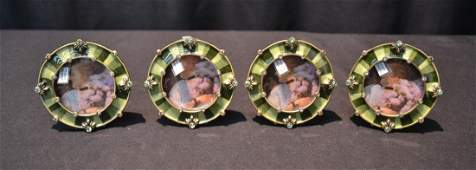 4 ROUND JAY STRONGWATER ENAMELED PICTURE FRAMES