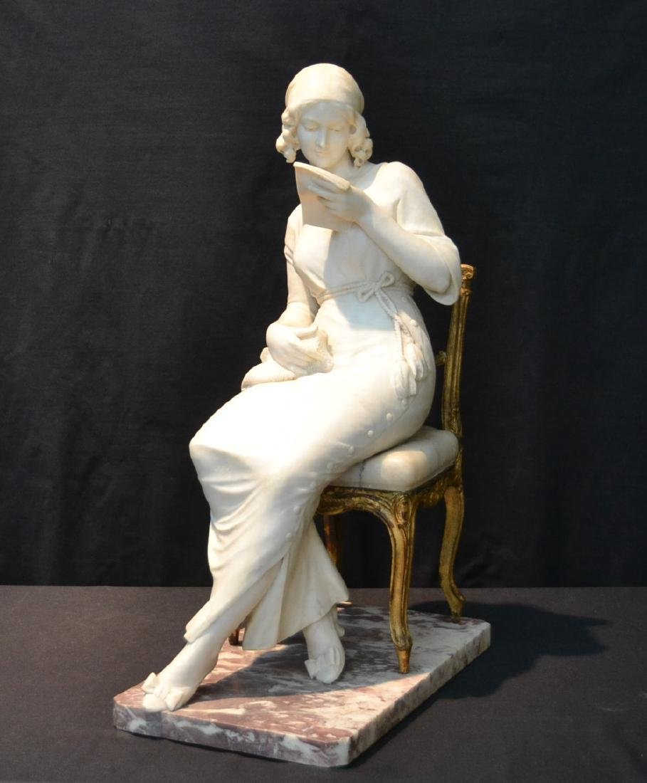 LARGE ART NOUVEAU STYLE CARVED ALABASTER SEATED