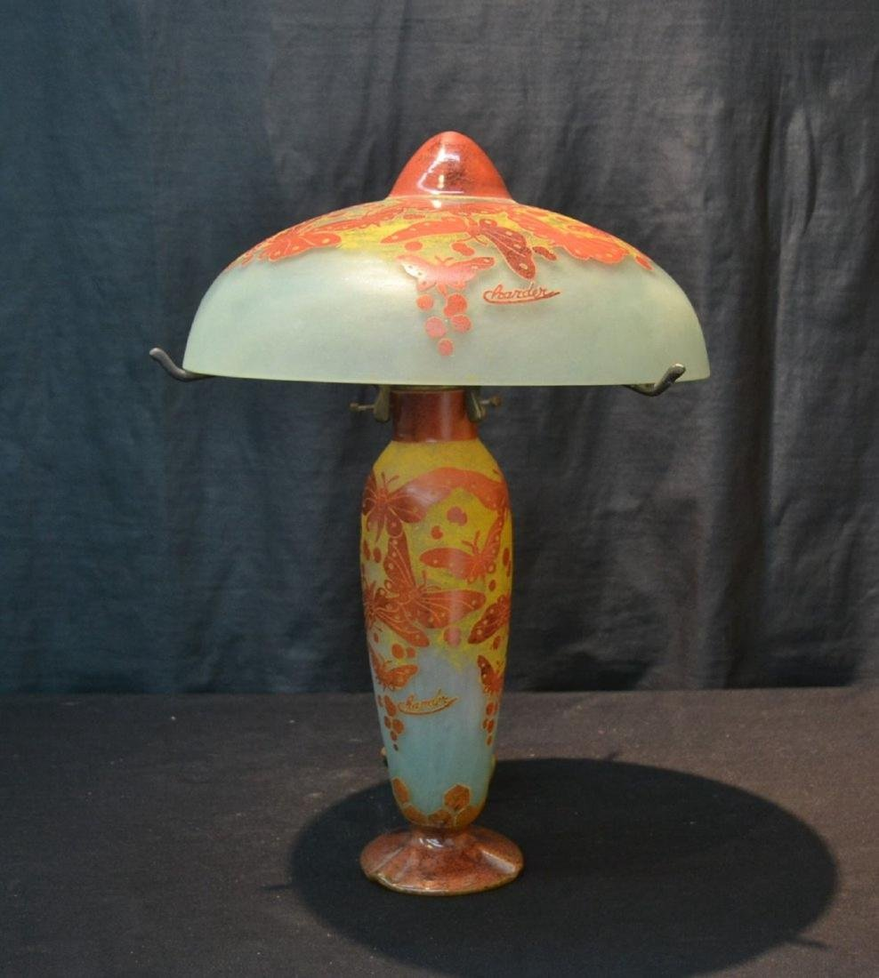 CHARDER OVERLAY CAMEO GLASS LAMP WITH
